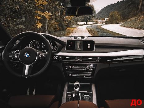 BMW X5. Перетяжка руля и центрального тоннеля, аквапринт _1