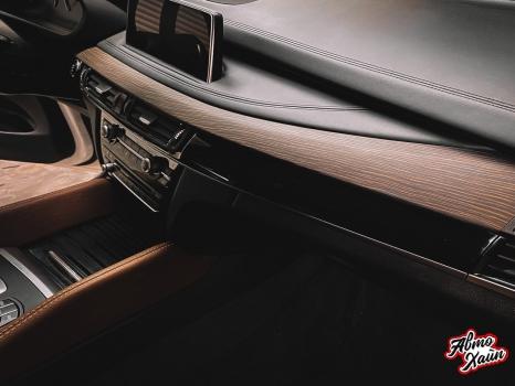 BMW X5. Перетяжка руля и центрального тоннеля, аквапринт _6