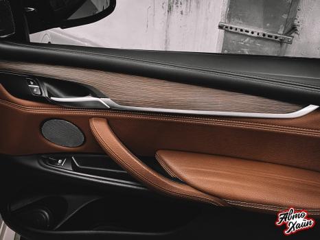 BMW X5. Перетяжка руля и центрального тоннеля, аквапринт _7