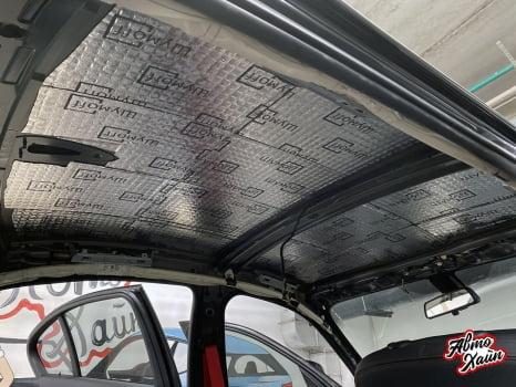 BMW 3 F30. Перетяжка и шумоизоляция потолка_3